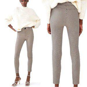 Zara High Waisted Plaid Leggings Brown/Ecru Sz L
